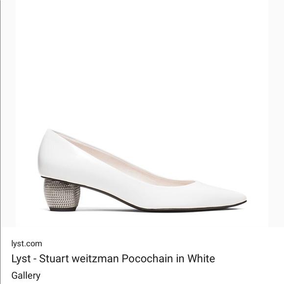 f119542b5eb Stuart Weitzman Poco chain white silver low heels.  M 5ab5196f8290af50cf11adfe